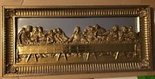 Home Interiors Lord's Last Supper Picture Mirror Gold Gilt Wall Plaque 22x10-1/4