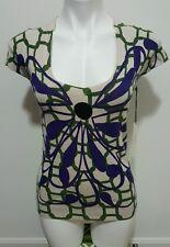 NWT $140 Vertigo Paris Green Purple Floral Print Scoop Neck Rayon Blouse Size M