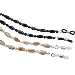 Cream or Black Oval Shell Beads Reading Glasses Lanyard-Chain (AEC117OSB)