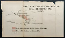 1885 - Crow Creek and old Winnebago ind. reservations - dakota - map carte