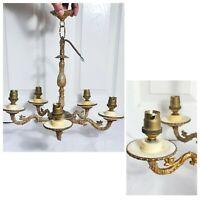 Elegant vintage style French 5 arm brass/bronze chandelier | Art Deco