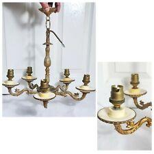 Elegant vintage style French 5 arm brass/bronze chandelier   Art Deco