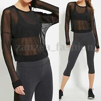 Women Long Sleeve Mesh Sheer See Through Tops T Shirt Blouse Crop Tee Clubwear