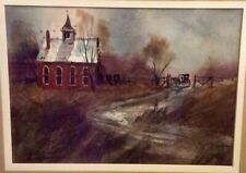 ED GIFFORD  WATERCOLOR W/ RUSTIC FRAME & MATTED 24 X 20