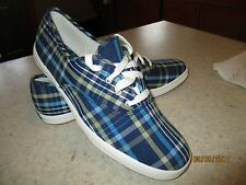KEDS ORIGINAL BLUE PLAID WOMENS TENNIS ATHLETIC SHOE SIZE 10 WF13220M NWOT