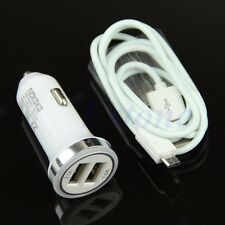 Hot 2.1A Dual Car Charger + Micro USB Cable For Samsung Galaxy S6 S4 S3 Note 4 2