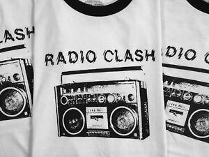Radio Clash Boombox Retro Ringer T-Shirt Unisex Men's Women's The Clash Band Tee