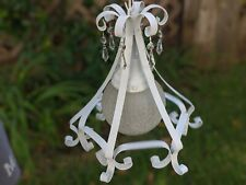 White Frosted Crackled Milk Glass Globe Crystal Chandelier Light Shabby Chic