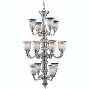 Pewter Plated Chandelier Light Lg 48 X 27 Triarch 29585-PWT Hand Cut Glass Globe