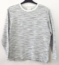 8593dc7a ZARA Men's Large Sweater White Navy Striped Crew Neck Sweatshirt Casual  Jumper