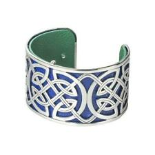 Solvar Rhodium-Plated and Leather Wide Celtic Bangle