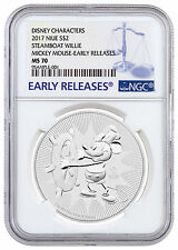 2017 Niue 1 oz Silver Mickey Mouse Steamboat Willie $2 Coin NGC MS70 ER SKU45491