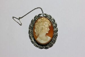 Very large silver marcasite vintage cameo brooch / pendant
