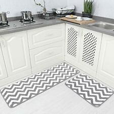 2 Pieces Microfiber Chevron Non-Slip Soft Kitchen Mat Bath Rug Doormat Runner