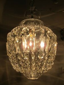 Antique Vnt Czech Bohemian Crystal & Casting Brass Chandelier Lamp Luster 1940s