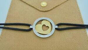 "Authentic Bvlgari Bulgari Tondo Heart 18k Yellow Gold Steel Cord Bracelet 6"""