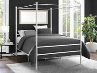 Canopy Bed Frame Metal Platform Full Size Princess Girls Kids Bedroom Furniture