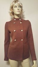 MISS ME MM Couture Brown Double Breasted Wool Coat Sz S Lined