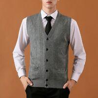 Men Wool Vest Sleeveless Cardigan Jumper Slim Cable Knit Waistcoat Gilet Top New