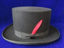 DORFMAN-PACIFIC WOOL BLACK TOP HAT LOW TOPPER MADHATTER STEAMPUNK VICTORIAN NEW?