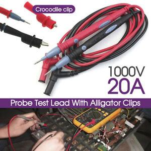 New 1000V 20A Digital Multimeter Multi Meter Test Lead Probe Pen Cable 1pair