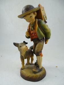 """Vintage Hand Carved Wood Anri Figurine Clock Salesman Dog 38/3000 LE 6.25"""" Tall"""