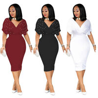 Women's Elegant V Neck Beading Solid Color Bodycon Dress Party Evening Casual