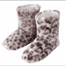 Ladies Tilda Leopard Print Slipper Boots BNIP