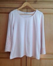 M&S Classic Pink & White Striped Bell Sleeve Jersey Top Size 14