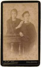 Lovely CDV Palermo Sicily Brother and Sister 1880c F. P. Uzzo S172