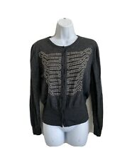 Alexander McQueen Womens Cardigan Military Studded Sweater Italy Gray Size XL
