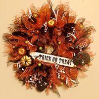 """Halloween Decor 22"""" Door Deco Mesh Wreath Skulls Skeleton Pumpkin Black Orange"""