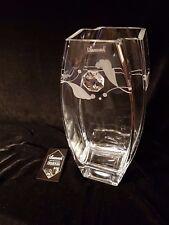 Elegant Hand Blown Glass Vase with Swarovski Crystal & Sandblasted Gift present