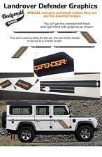 Land Rover Defender Decals/Stripes SPECIAL MID GREY AND BLACK Carbon Fibre style
