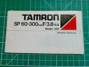 GENUINE TAMRON INSTRUCTION MANUAL SP 60-300MM F3.8-5.4 MODEL 23A LENS