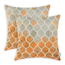 "2Pcs Grey Orange Cushion Covers Pillow Case Painted Chains Car Sofa Decor 20x20"""