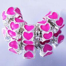 5Pcs White GF Silver Filled Charms Heart Beads Fit European Bracelet Women