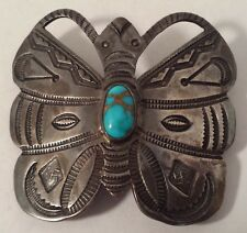 Large Vintage Navajo Indian Turquoise Stampwork Sterling Silver Butterfly Pin