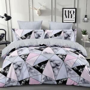 Single/KS/Double/Queen/King/SK Soft Quilt/Duvet Cover Set-Marble Geometric