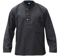Hemp Cotton Plain Grandad Shirt,Mens Loose Fit Festival Clothing,Hippie Tops