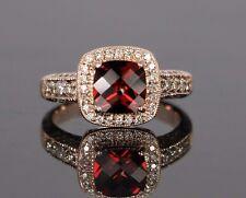 $1,299 LeVian 14K Rose Gold Rhodolite Garnet Chocolate White Diamond Ring Band