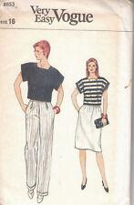 Vintage Vogue Pattern 8653 Pants, Skirt and Short Top  size 16  New, uncut