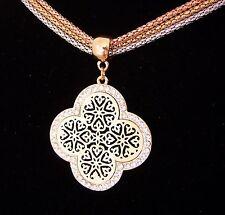 Farbe Rosegold Gold Silber Collier Kette + Anhänger Ornament Kreuz Kristalle NEU