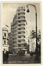Buenos Aires, Callao y Lavalle, Argentina, old car, black & white photo postcard