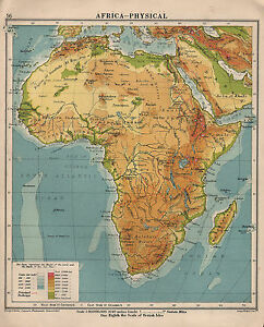 1934 MAP ~ AFRICA PHYSICAL ~ LAND SEA HEIGHTS & DEPTHS