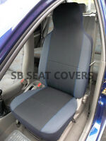 FIAT PANDA / PUNTO / IDEA CAR SEAT COVERS CHARCOAL GREY WITH BLUE PIPING