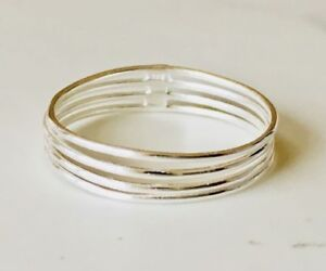 925 Sterling Silver 4 Four Thin Stackable Stack Multi Band Ring Connected 56 7 8