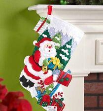 "Bucilla""SANTA's MAILBOX"" Felt Christmas Stocking Kit-NEW 86576 18"" Winter OOP"