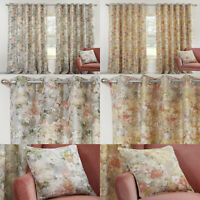 Floral Eyelet Curtains Giverny Modern Watercolour Lined Ring Top Curtains Pair