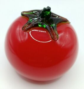 Vintage Murano Style Art Glass Tomato Fall Vegetables